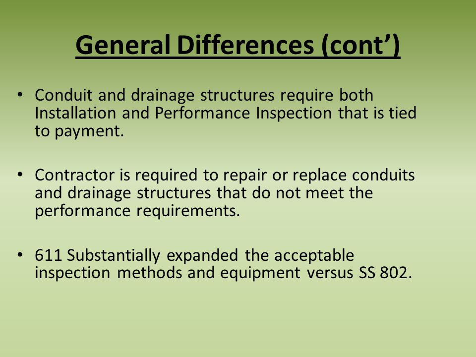 General Differences (cont')
