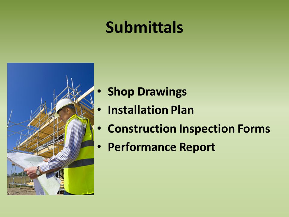 Submittals Shop Drawings Installation Plan