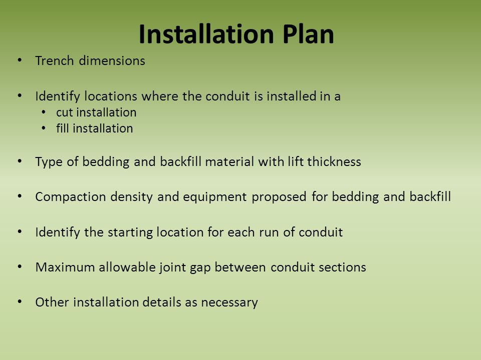 Installation Plan Trench dimensions