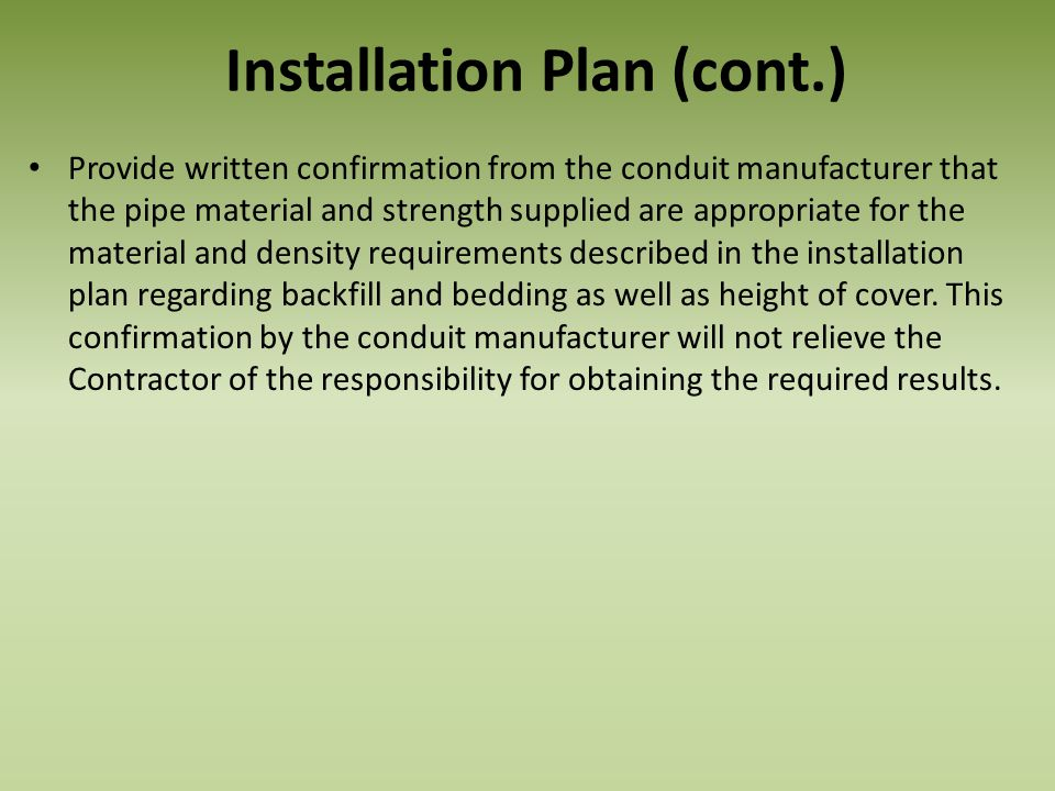 Installation Plan (cont.)
