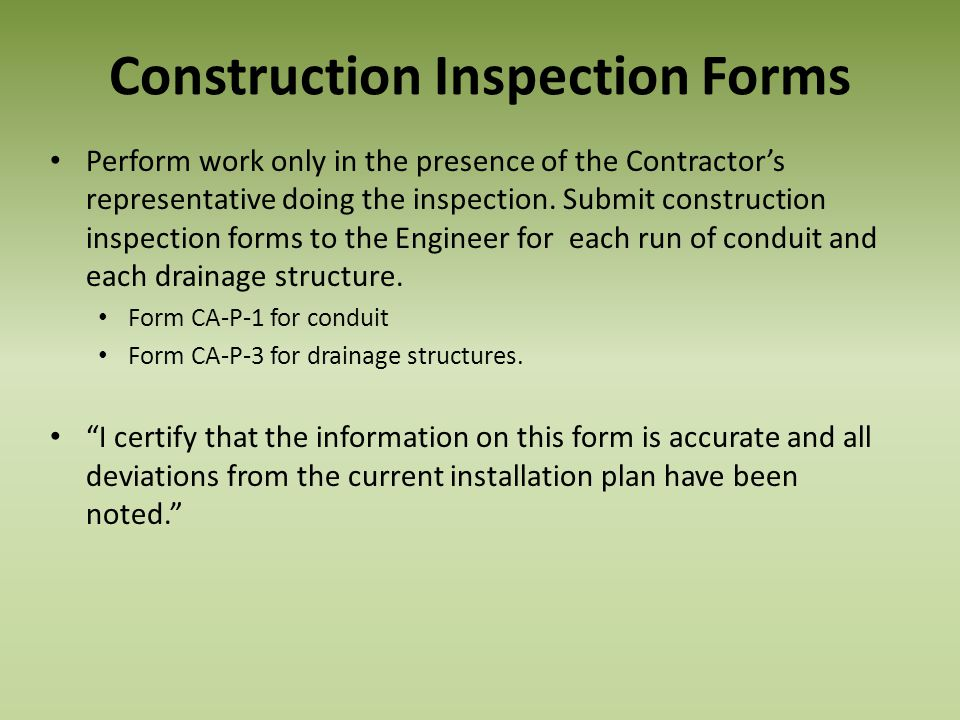 Construction Inspection Forms