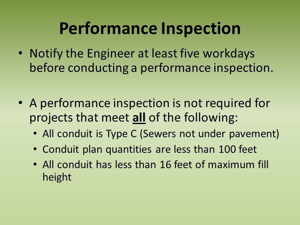 Performance Inspection