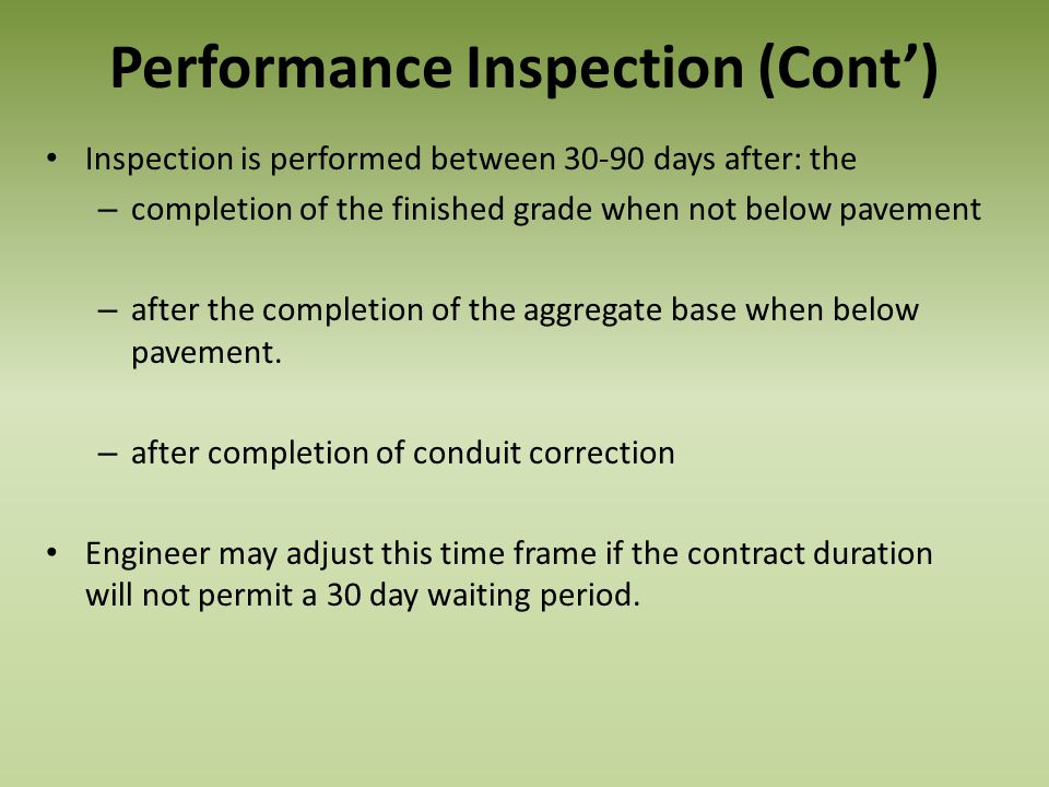 Performance Inspection (Cont')