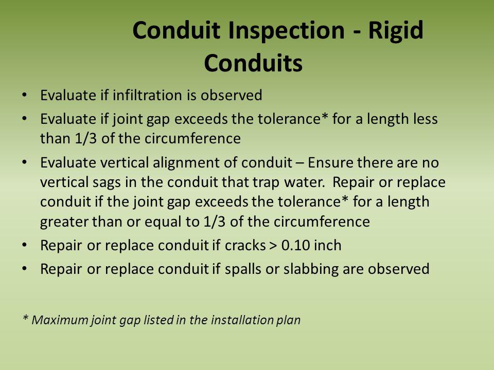 Conduit Inspection - Rigid Conduits