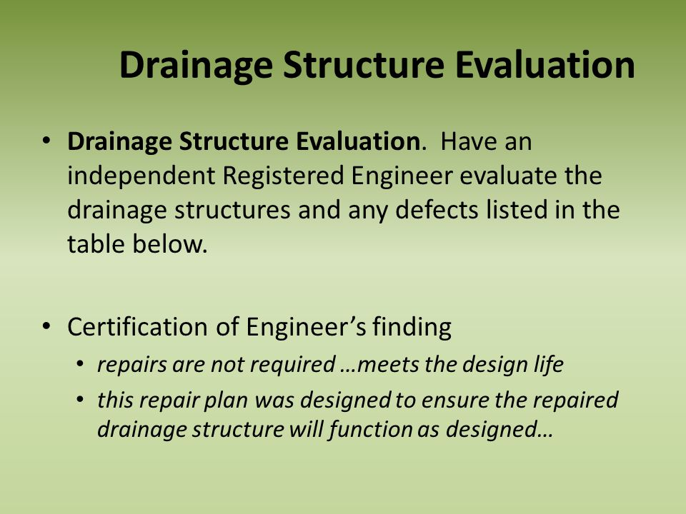 Drainage Structure Evaluation