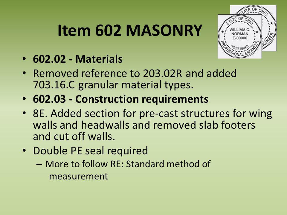 Item 602 MASONRY 602.02 - Materials