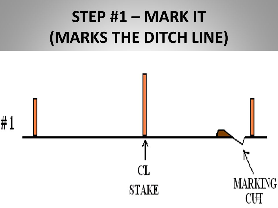 STEP #1 – MARK IT (MARKS THE DITCH LINE)