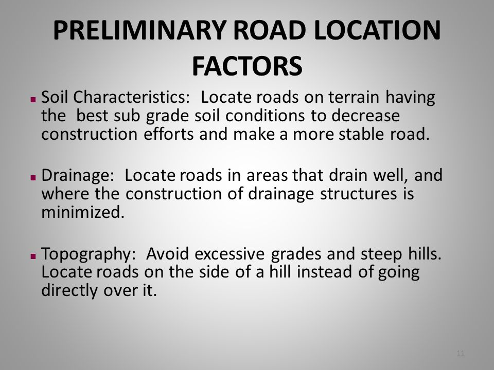 PRELIMINARY ROAD LOCATION FACTORS