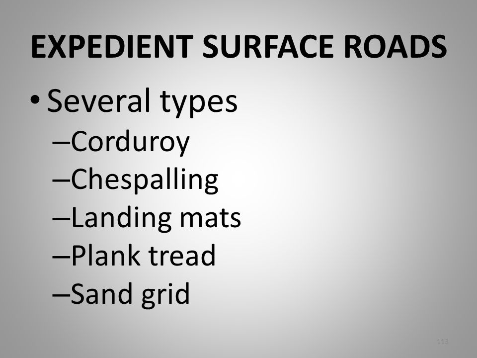 EXPEDIENT SURFACE ROADS