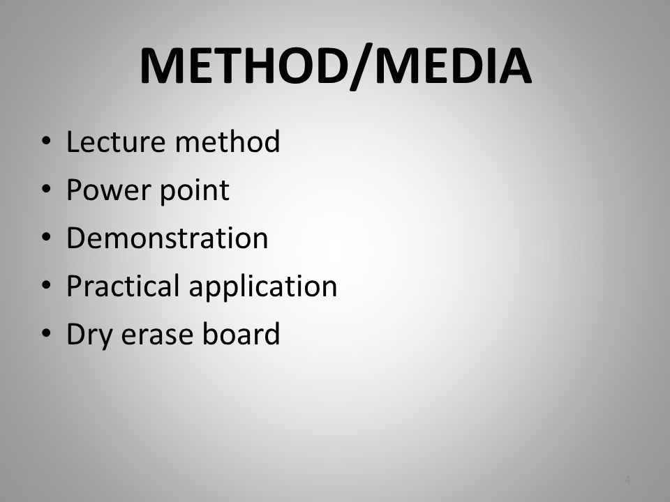 METHOD/MEDIA Lecture method Power point Demonstration