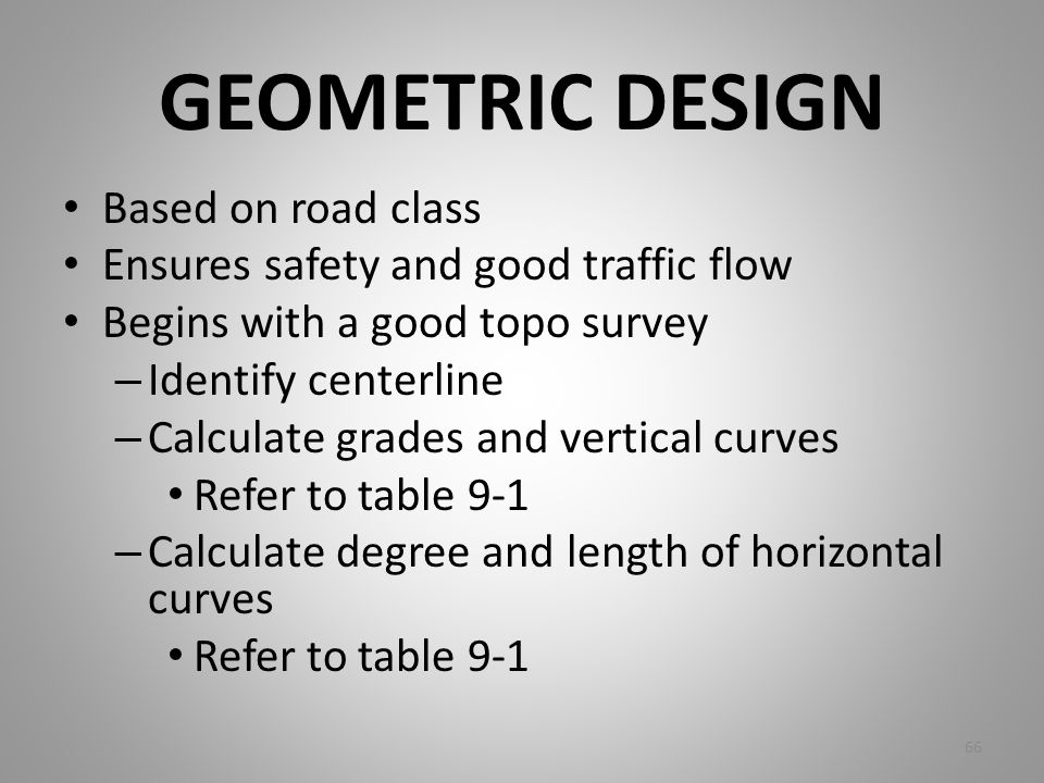 GEOMETRIC DESIGN Based on road class