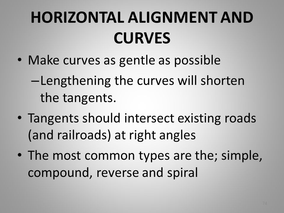 HORIZONTAL ALIGNMENT AND CURVES