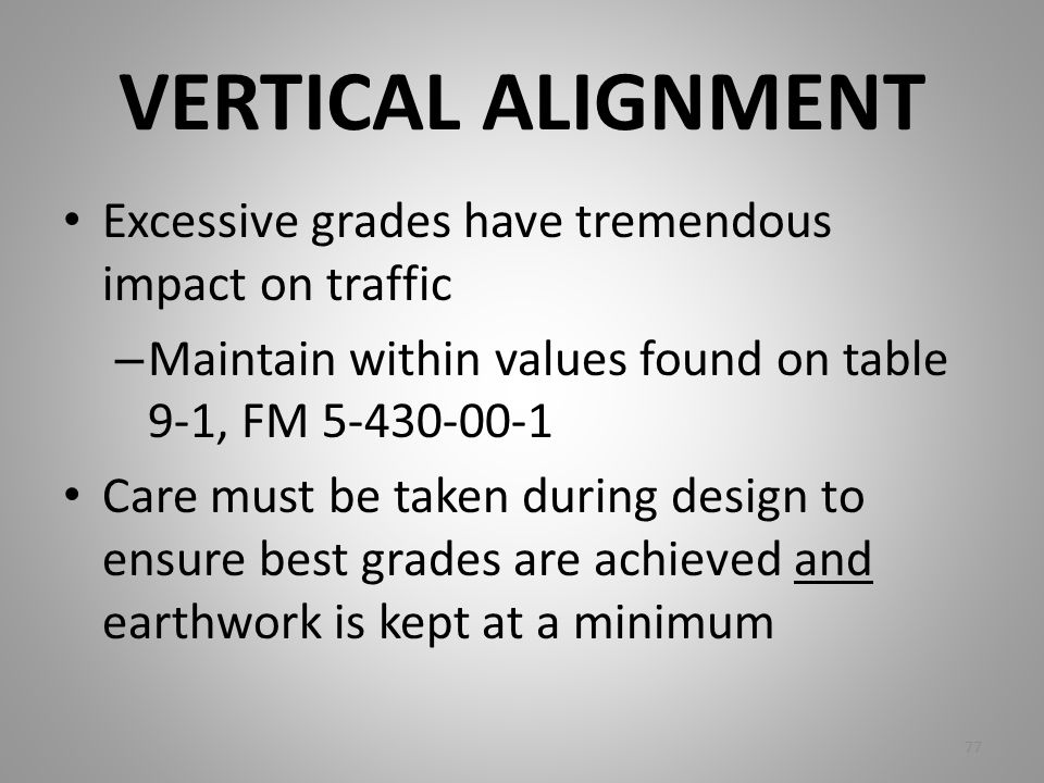 VERTICAL ALIGNMENT Excessive grades have tremendous impact on traffic