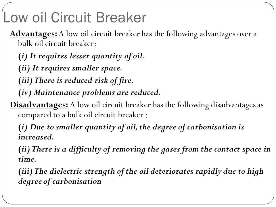 Low oil Circuit Breaker