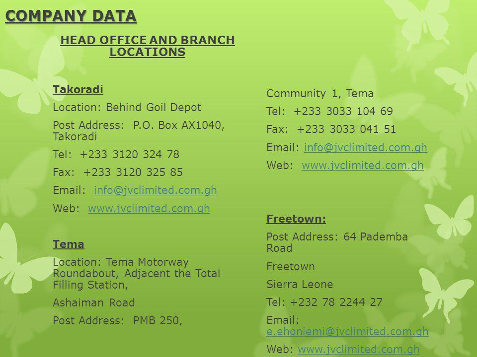 HEAD OFFICE AND BRANCH LOCATIONS