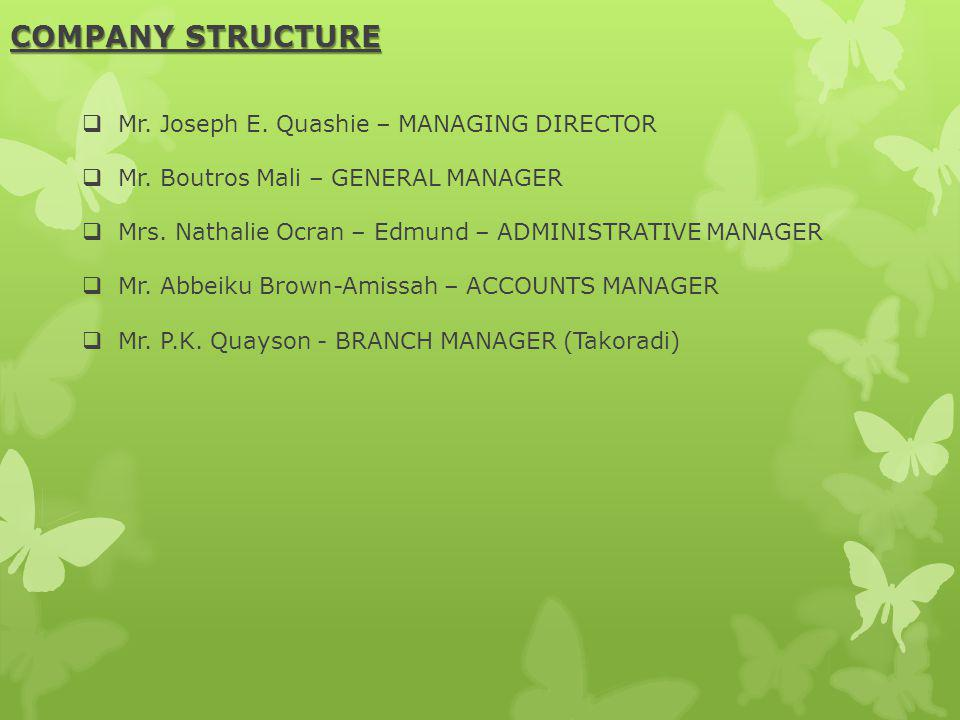 COMPANY STRUCTURE Mr. Joseph E. Quashie – MANAGING DIRECTOR