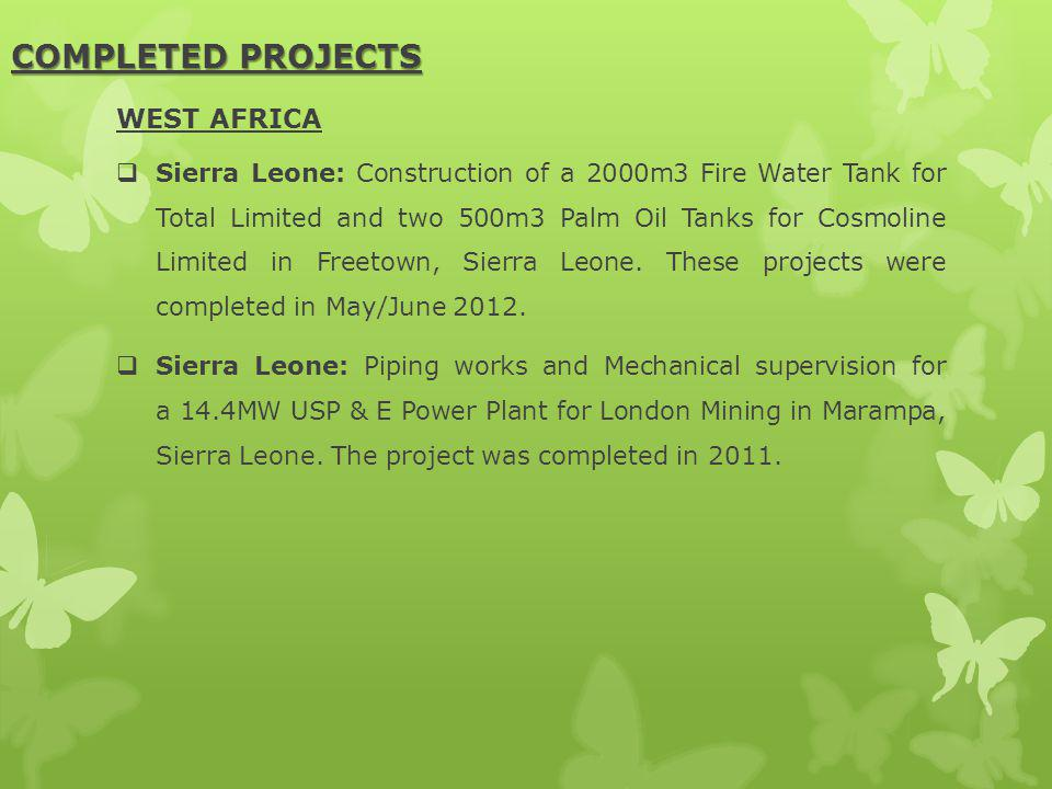 COMPLETED PROJECTS WEST AFRICA
