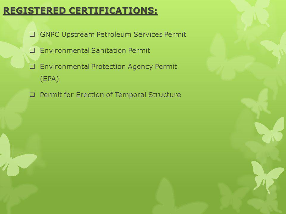 REGISTERED CERTIFICATIONS: