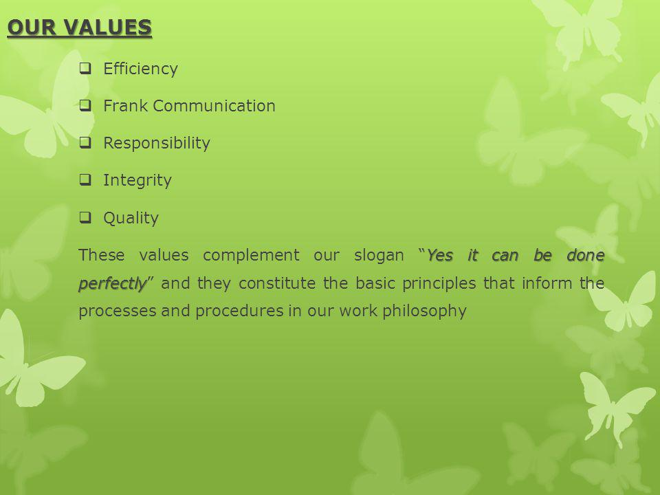 OUR VALUES Efficiency Frank Communication Responsibility Integrity