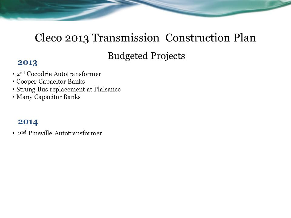 Cleco 2013 Transmission Construction Plan