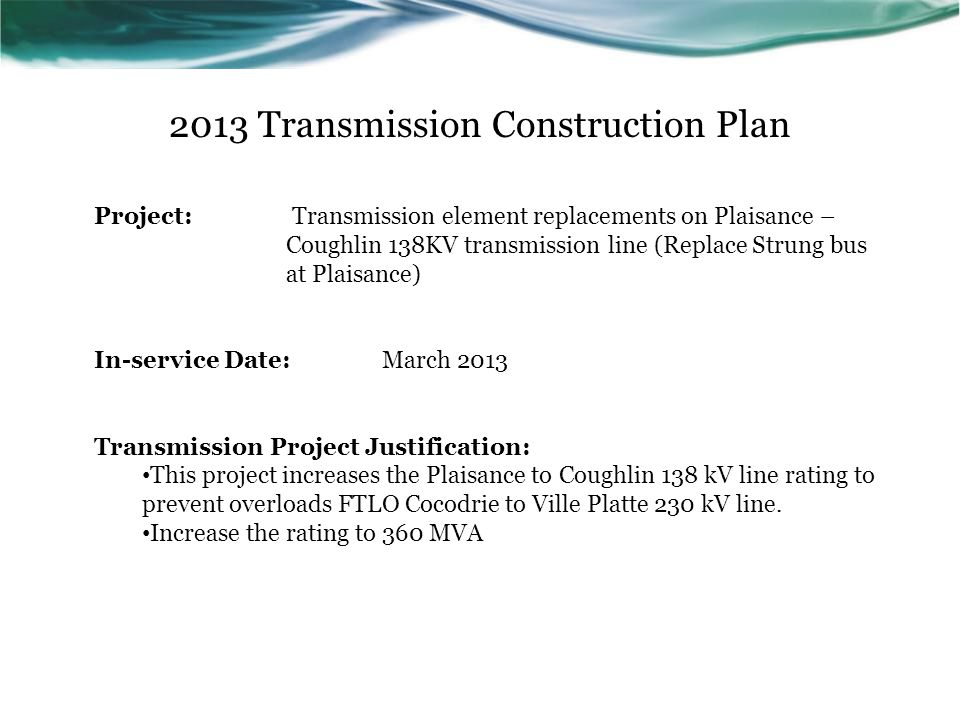 2013 Transmission Construction Plan