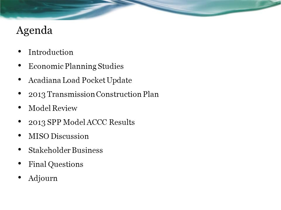 Agenda Introduction Economic Planning Studies