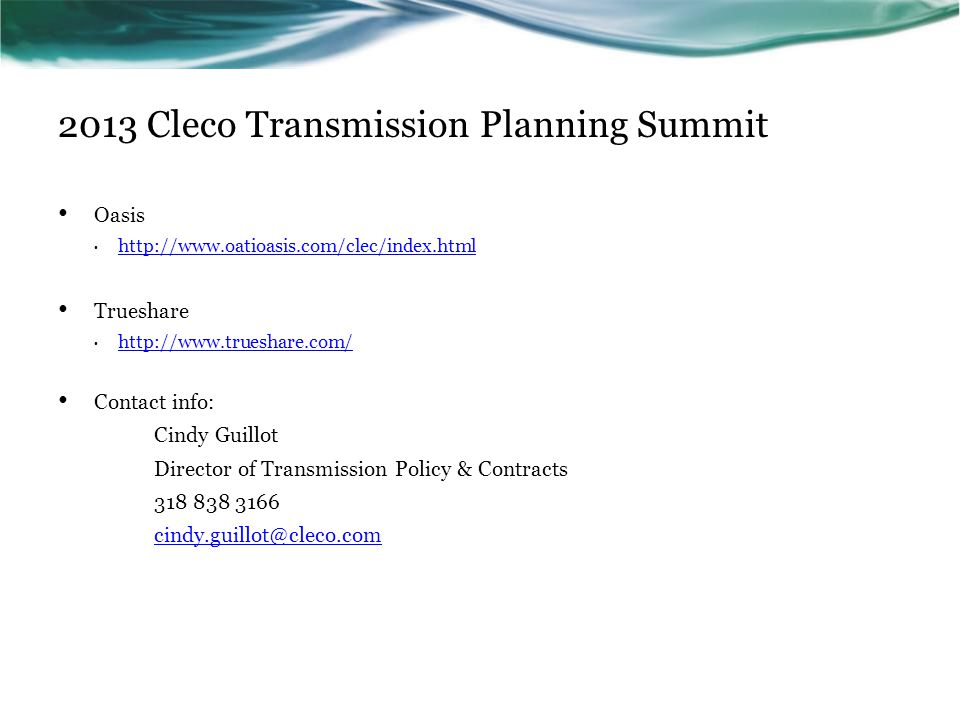 2013 Cleco Transmission Planning Summit