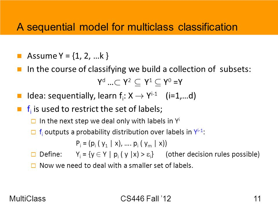 A sequential model for multiclass classification