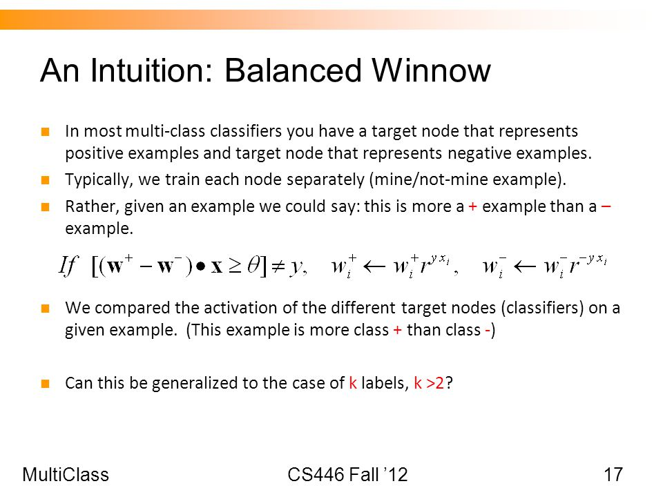An Intuition: Balanced Winnow