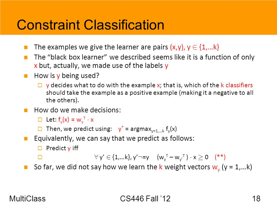 Constraint Classification