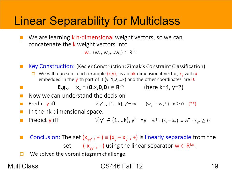 Linear Separability for Multiclass