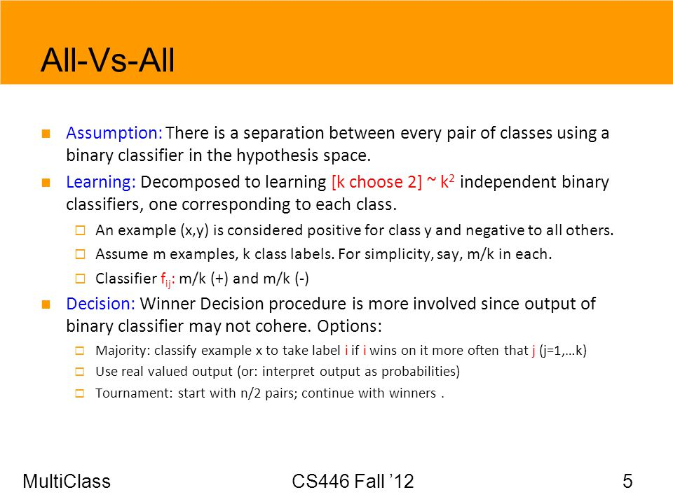 All-Vs-All Assumption: There is a separation between every pair of classes using a binary classifier in the hypothesis space.