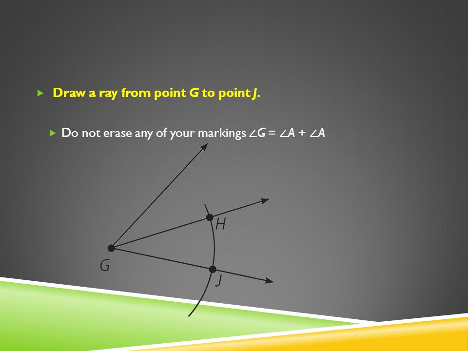 Draw a ray from point G to point J.