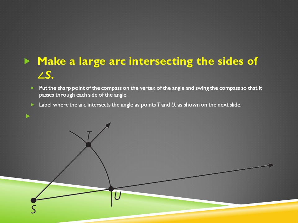 Make a large arc intersecting the sides of ∠S.