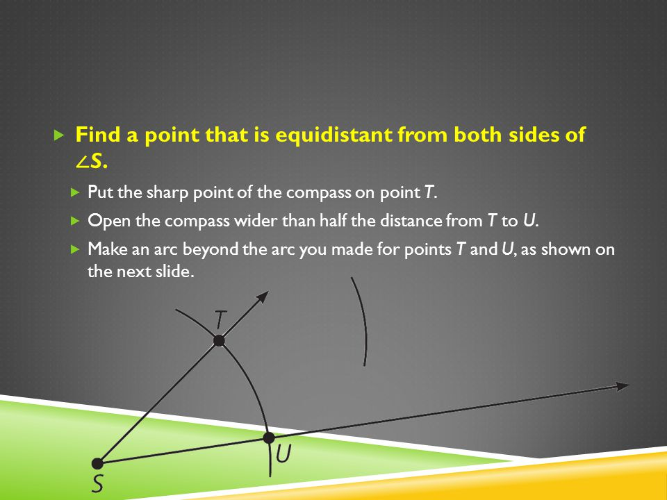 Find a point that is equidistant from both sides of ∠S.