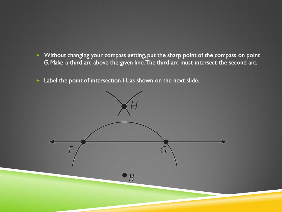 Without changing your compass setting, put the sharp point of the compass on point G. Make a third arc above the given line. The third arc must intersect the second arc.