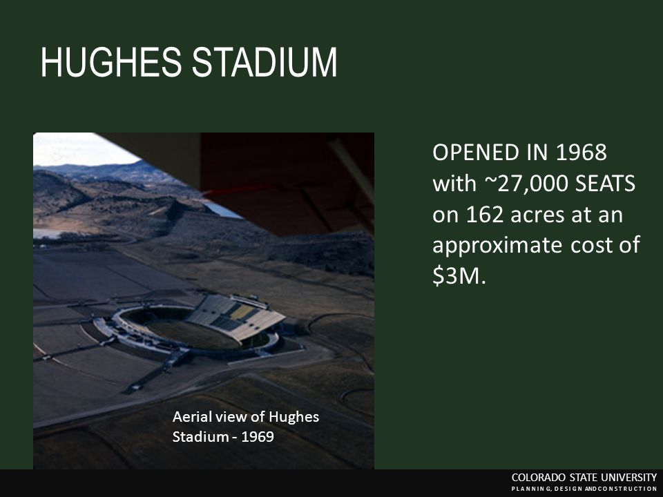 HUGHES STADIUM OPENED IN 1968 with ~27,000 SEATS on 162 acres at an approximate cost of $3M.