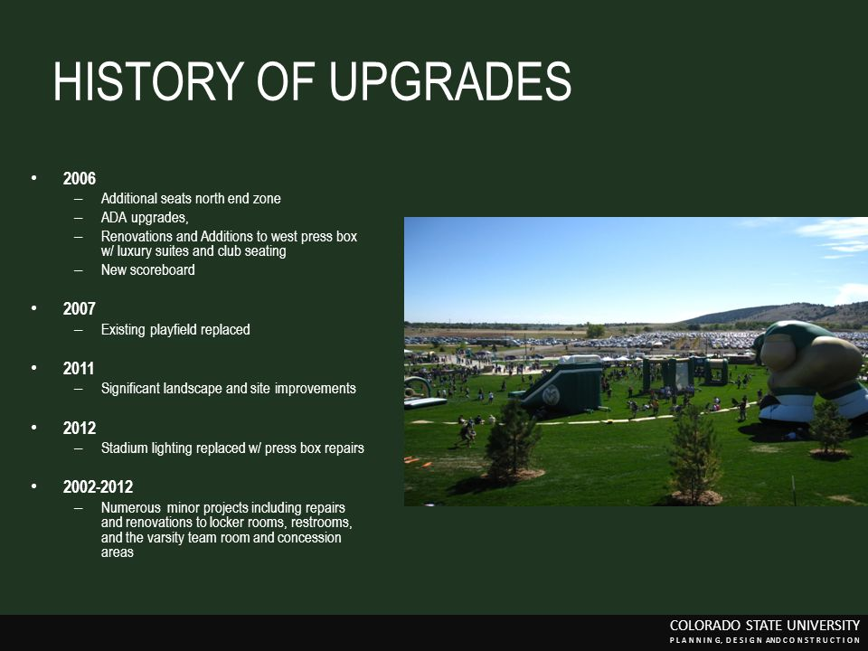 HISTORY OF UPGRADES 2006. Additional seats north end zone. ADA upgrades,