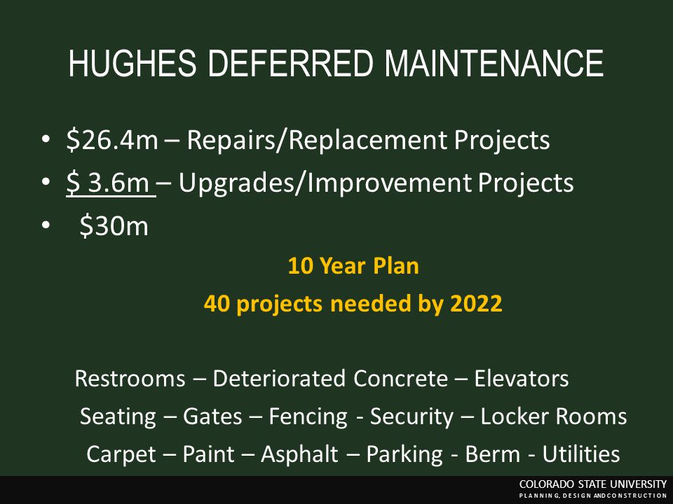 HUGHES DEFERRED MAINTENANCE