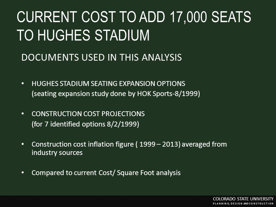 CURRENT COST TO ADD 17,000 SEATS TO HUGHES STADIUM