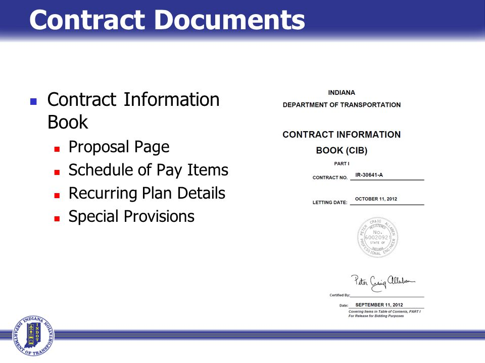 Contract Documents Contract Information Book Proposal Page