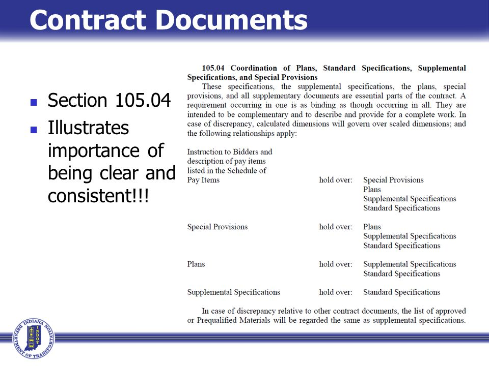Contract Documents Section 105.04