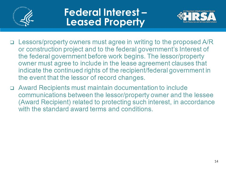 Federal Interest – Leased Property