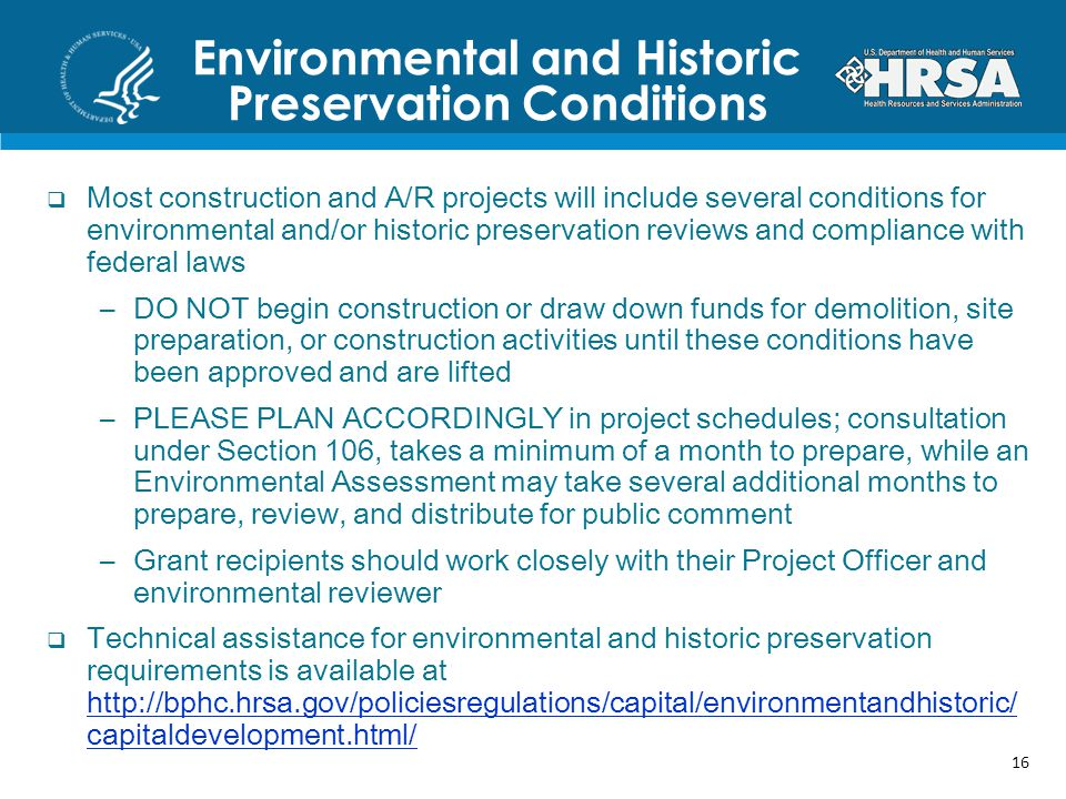 Environmental and Historic Preservation Conditions