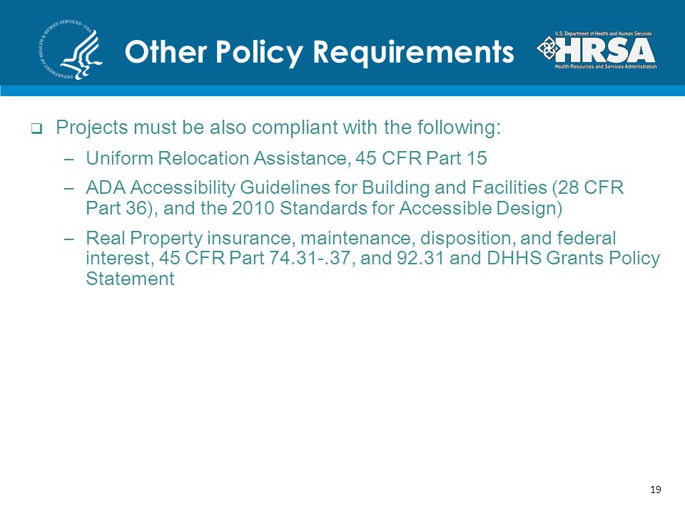 Other Policy Requirements