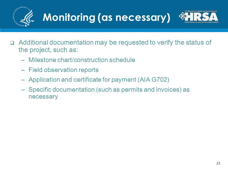 Monitoring (as necessary)