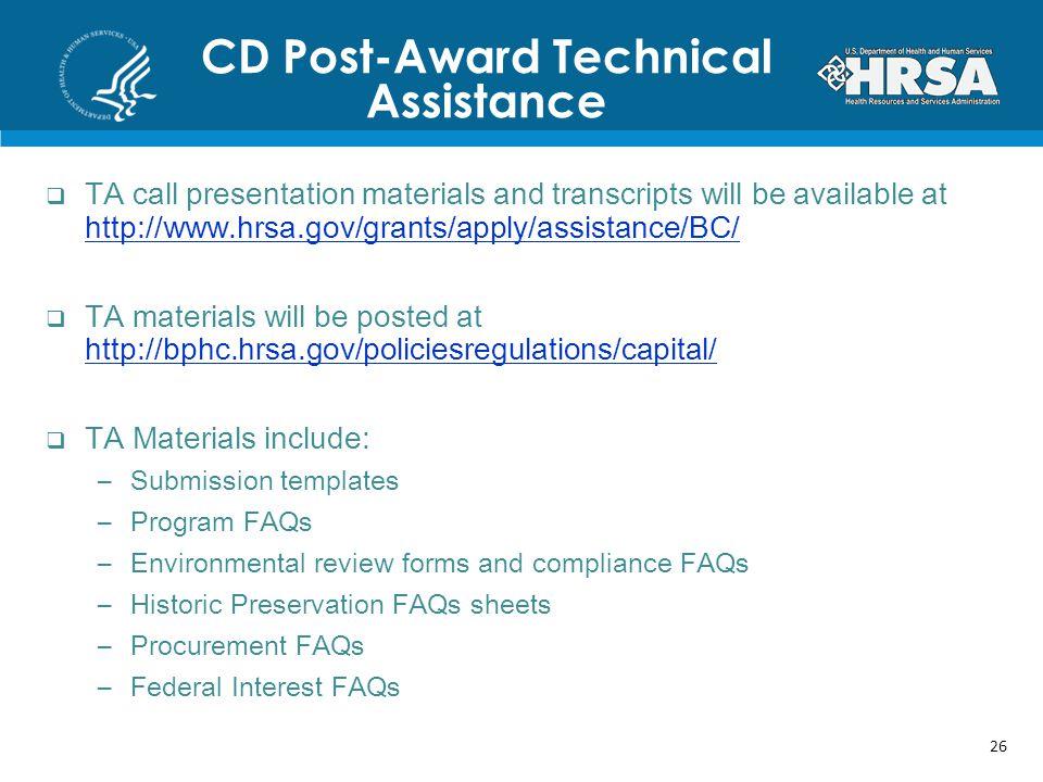 CD Post-Award Technical Assistance