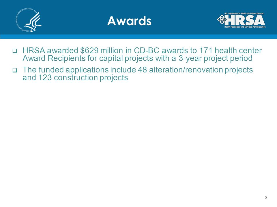 Awards HRSA awarded $629 million in CD-BC awards to 171 health center Award Recipients for capital projects with a 3-year project period.