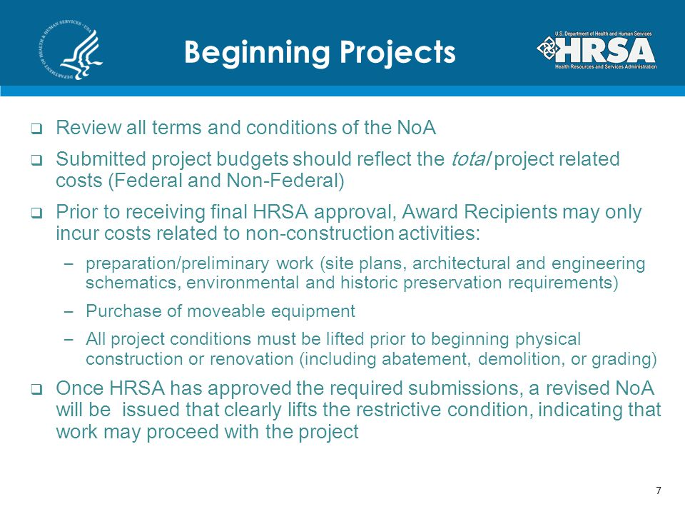 Beginning Projects Review all terms and conditions of the NoA