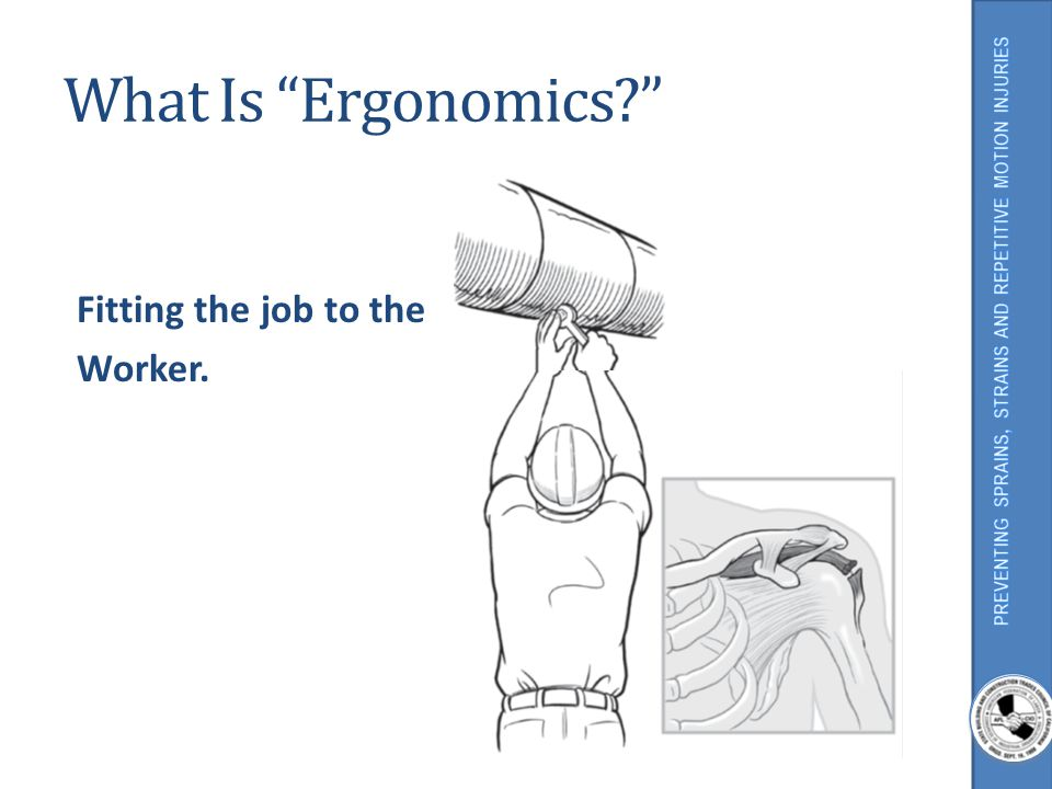 What Is Ergonomics Fitting the job to the Worker.
